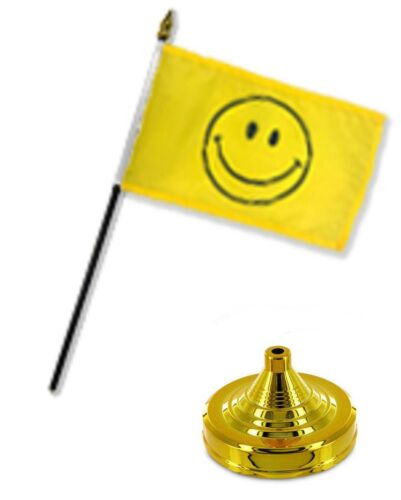 """Yellow Smiley Smile Face Happy  4/""""x6/"""" Flag Desk Set Table Stick Staff Gold Base"""