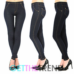 e9c01f4e9c Womens High Waist Denim Look Feel Navy Black Jeggings Jean Leggings ...