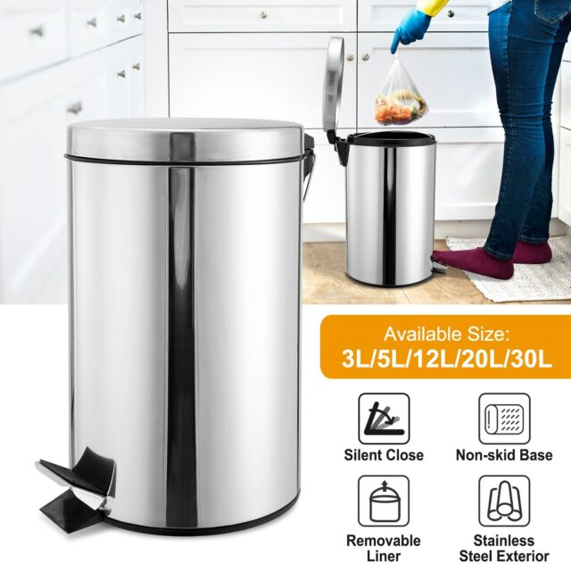 Liter Stainless Steel Step Trash Can