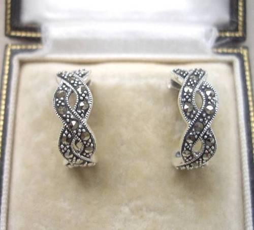Open Work Silver & Marcasite Curved Twist Design Earrings