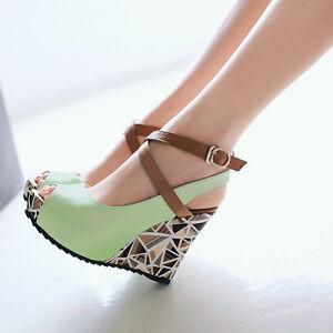 Fashion Women's Wedge High Heel Ankle Strap Open Toe Platform Shoes Plus Size