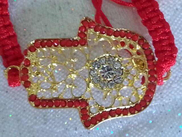 1+1! LARGE Golden Crystal HAMSA Evil Eye Charm RED Adjustable Kabbalah Bracelet