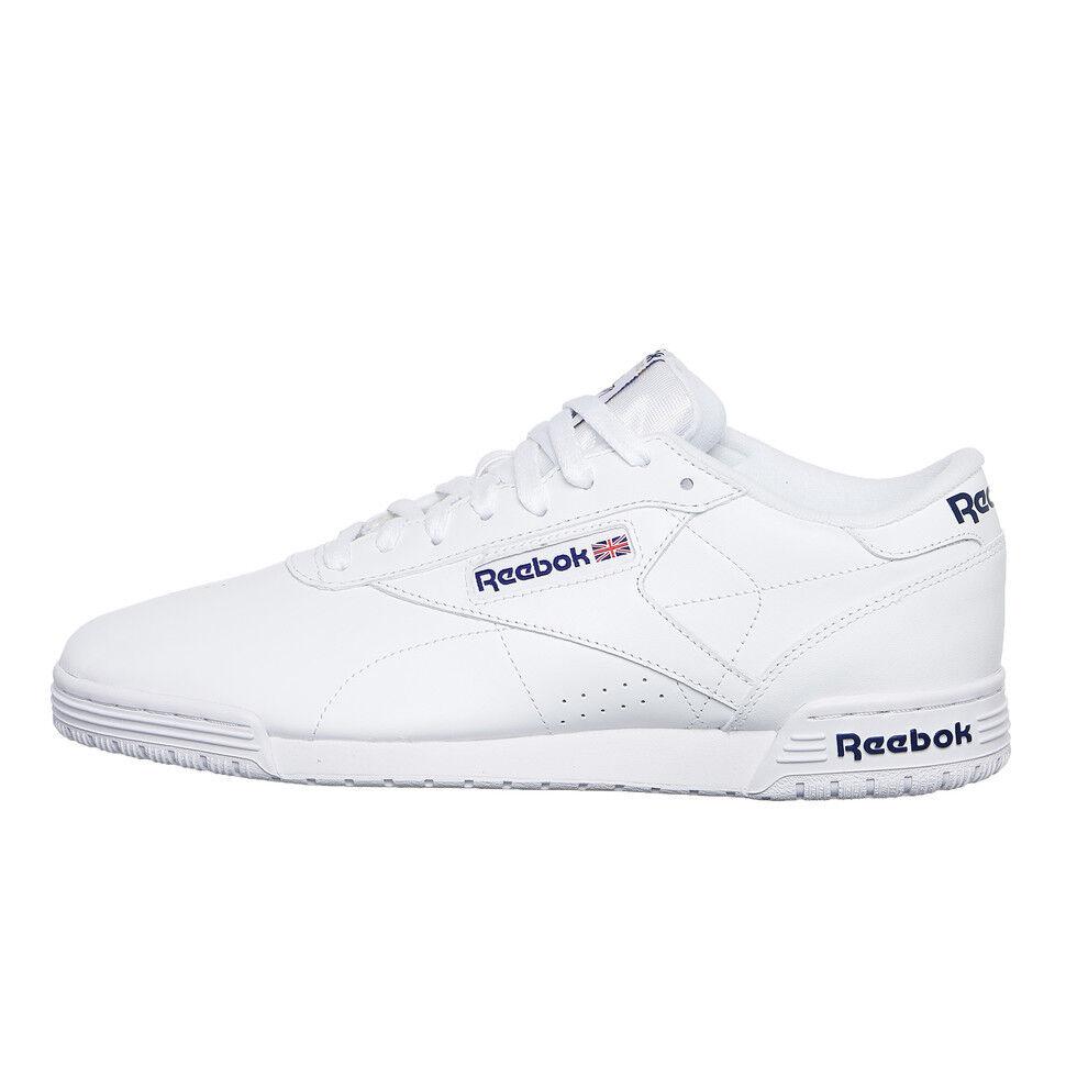 best website f18c3 f4b77 REEBOK-EX-O-FIT lo clean clean clean logo int White Royal Blue Sneaker Chaussures  De Sport 9a3a33