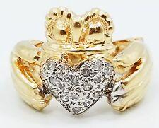Very NICE 14K Yellow Gold Pave Diamond Heart Irish Claddagh Ring B3666