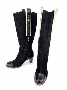 UGG-Australia-Tess-5504-Black-Suede-Tall-Boots-Sheepskin-Leather-Heel-Size-5-5