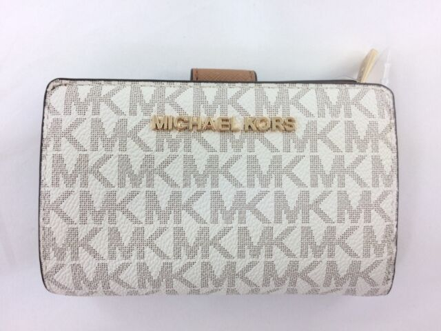 e7c94f1acd7b New Authentic Michael Kors Jet Set Travel Vanilla PVC Bifold Zip Coin Wallet