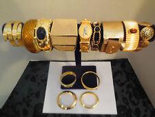 Vtg Modernist Gold Tone Leopard Faux Snake Cuff Bangle Bracelet Jewelry Lot B70