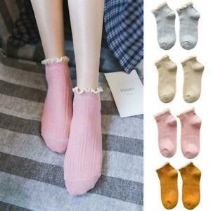 1-Pair-Ladies-Beautiful-Cream-Cotton-Lace-Sponge-NEW-Ankle-Socks-Upper-J6B5