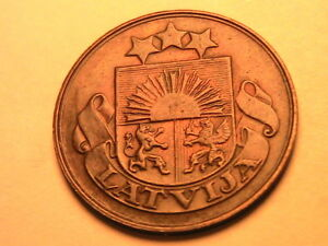 1922 LATVIA 5 Sentini Ch R&B AU W/O Name Scarce Var. Five Sentini Copper Coin