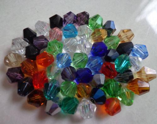 Vente en gros 100pcs 4//6//8mm cristal 5301# Bobine biconique Perles U Pick Couleur