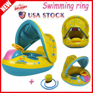 Swimming Ring Inflatable Baby Float Sunshade Swimming Boat Seat With Sun Canopy