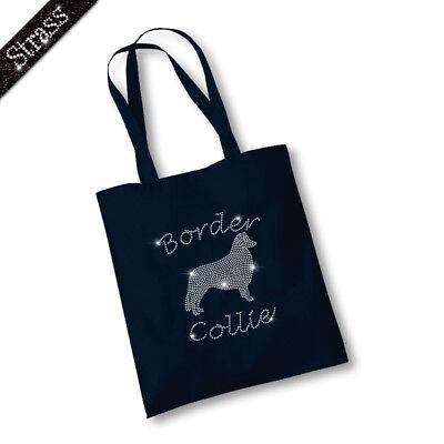 Jutebeutel Beutel Bag Einkaufstasche Shopper Strass Hund Border Collie M1
