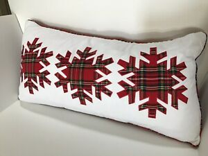 Details About Lush Decor Plaid Snowflake Decorative Throw Pillow Down Feathers 14 X 26 New