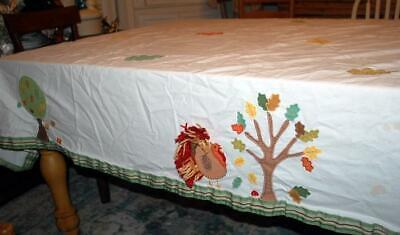 Thanksgiving Pottery Barn Tablecloth Turkey Applique 120 X
