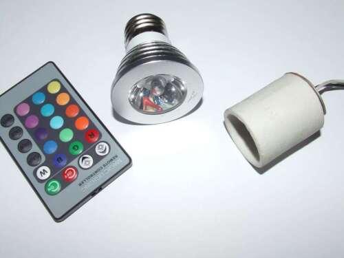 LAMPADA SPOT LED RGB CON RADIOCOMANDO 5 WATT ATTACCO E 27 220V CON PORTALAMPADA