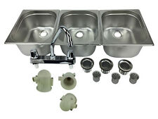 Large 3 Compartment Sink Set For Portable Concession Sinks With Faucet Drain Traps