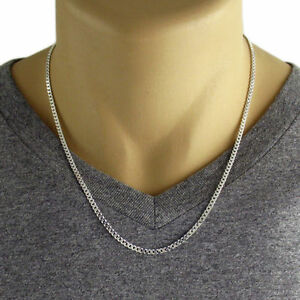 Men S 925 Sterling Silver Curb Link Chain Necklace 080 Gauge 3 Mm Made In Italy Ebay