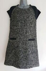 ME-amp-EM-Women-039-s-Grey-Mix-Tweed-Wool-Blend-Cap-Sleeve-Tunic-Dress-Size-Small