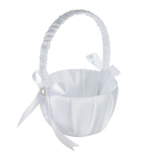 Romantic White Satin Bowknot PEARL Flower Girl Basket Wedding Ceremony Part F5U1