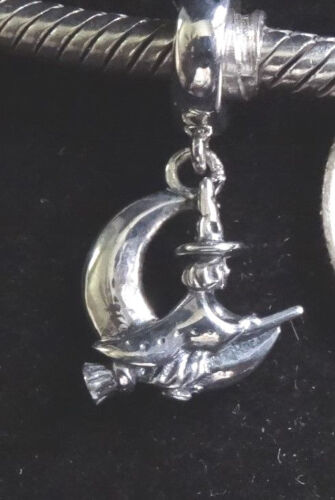UNBRANDED 925  ST SILVER HALLOWEEN FLYING WITCH DANGLE EUROPEAN BEAD CHARM