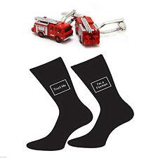 Red Fire Engine Cufflinks & Trust me I'm a Fireman Socks Gift Set X2SJ008-X6S047