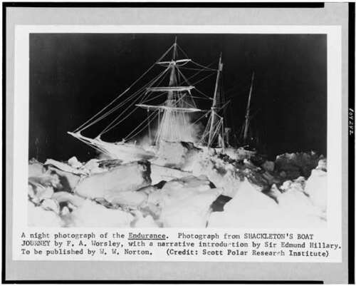 Night photograph,Endurance,ship,ice,Imperial Trans-Antarctic Expedition,1914