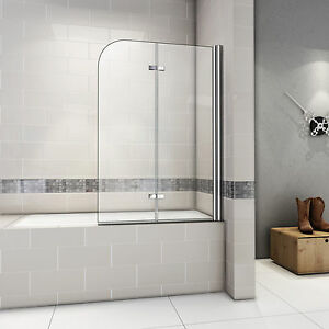 180° Pivot Hinge Chrome 2 Fold Bath Shower Screen 6mm Easyclean ...