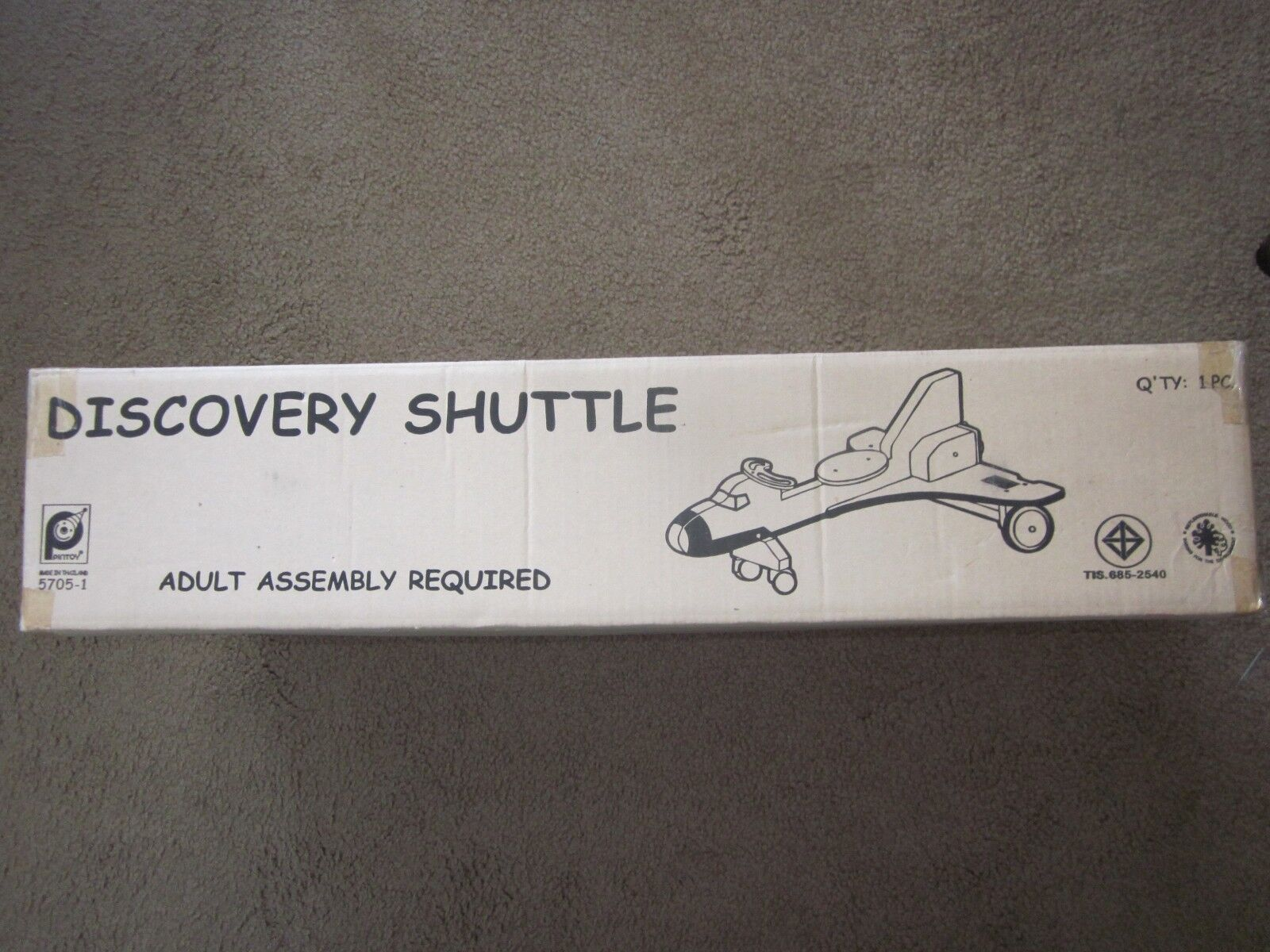 Pintoy Sit On Wood Discovery Space Shuttle on Wheels Toy  VINTAGE NEW in BOX