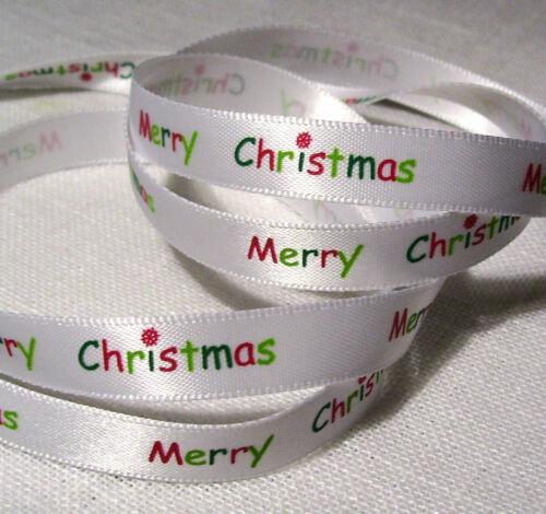 RUBAN SATIN MOTIFS de NOËL ** 10 mm ** Merry Christmas Joyeux Noël multicolore