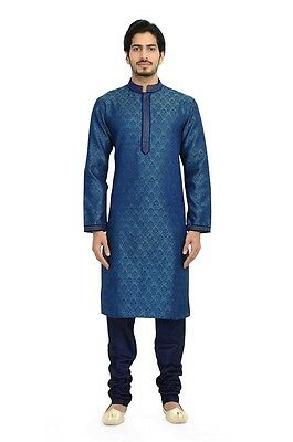 Manyavar Mens Royal Blue and Teal Kurta and Churidar(S952546-326)