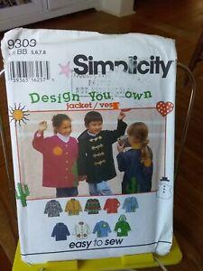 Oop-Simplicity-Design-your-Own-9303-childs-jacket-duffle-applique-sz-5-8-NEW