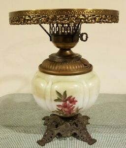Antique-Gone-with-the-Wind-Oil-Lamp-Base-Hand-Painted-Original-Font-Electrified