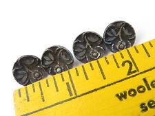 Antique Button Buttons Lot Metal Cup Floral Flower Design Shank Beauties B9