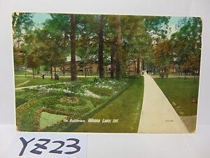 VINTAGE-POSTED-POSTCARD-STAMP-1908-PICTURE-WINONA-LAKE-INDIANA-IN-AUDITORIUM