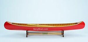 "Peterborough Canoe Red 31.5"" - Wooden Handmade Row Boat Model NEW"