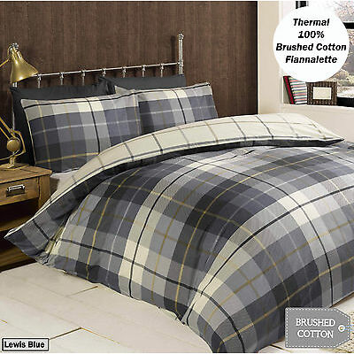 100% Brushed Cotton Flannelette Reversible Duvet Quilt Cover Bedding