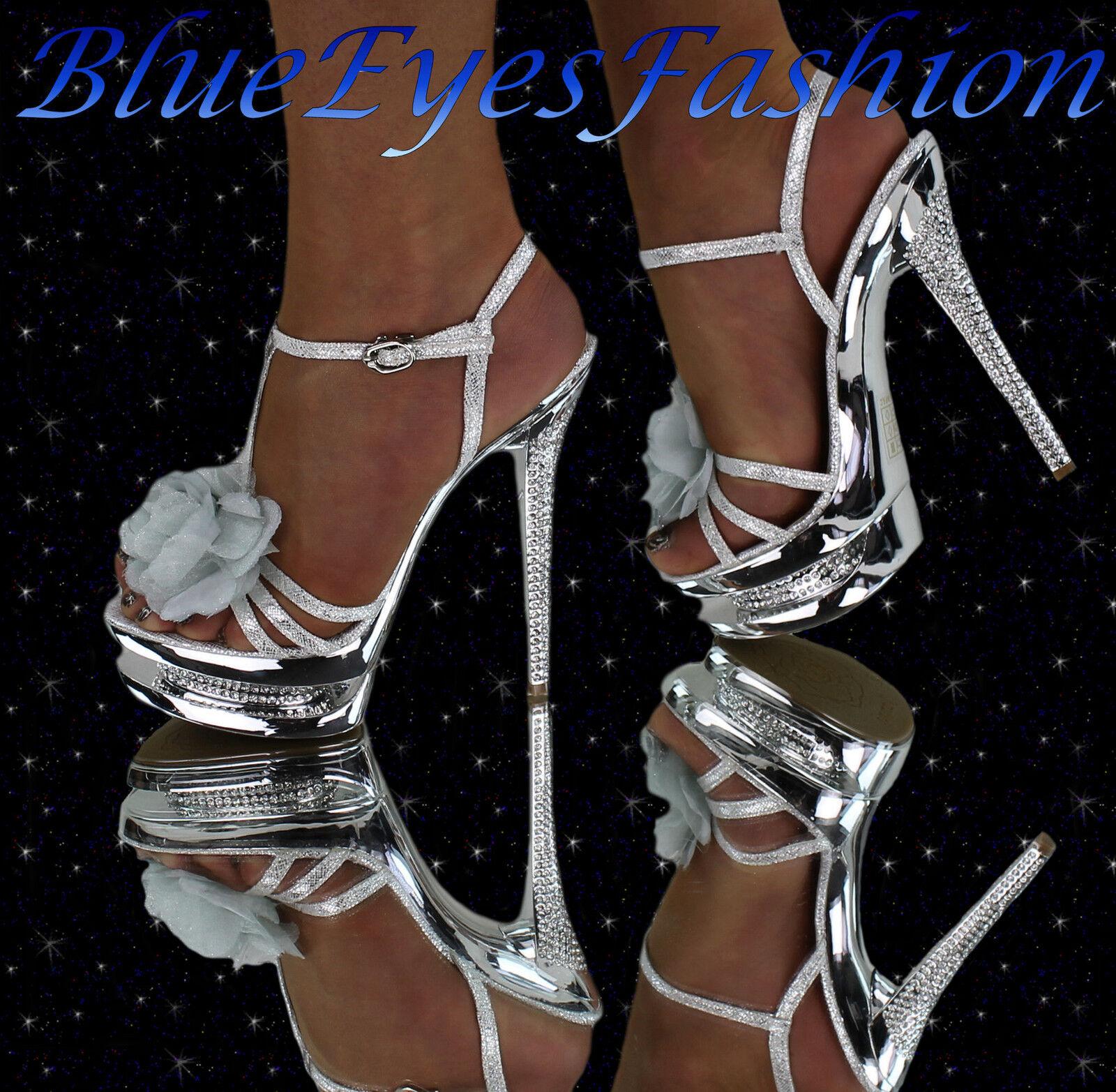 ca323220a1db1 High Heels silver Luxus Disco Glitzer Partyschuhe mit Strass Sexy ...