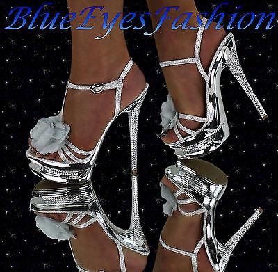 High Heels Silber Luxus Disco Glitzer Sexy Partyschuhe mit Strass