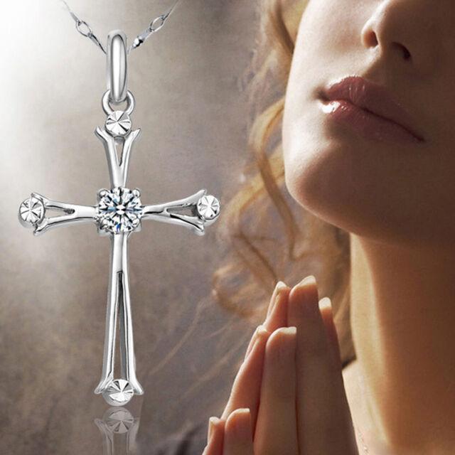 Sincere Kreuz Silber Anhänger Halskette Schmuck Valentinstag Geschenk Neu
