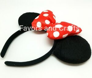 Minnie Mouse Ears Headband RED Party Favors Puffy Black Polka Dot ... 17670f0d621