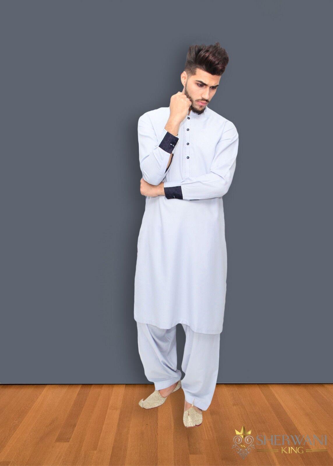 Light bluee Men's Shalwar Kameez with Collar Detail - Indian Bollywood Eid Party
