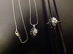 .925 Sterling Silver Necklace, Pendant, And Ring Size 9.
