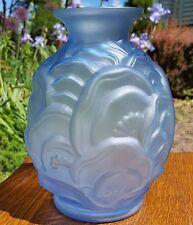 ART DECO Belgian Art Glass Blue Bulbous Vase Antique Catteau Mold -Unmarked