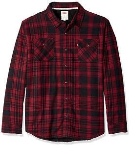 c58a0fd39b Levi s Men s Thorton Sherpa Lined Flannel Plaid Long Sleeve Button ...
