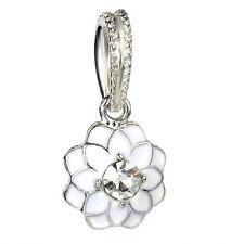European Silver White Lotus Paint Dangle Pendant Bead Fit European Charm #D85