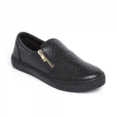 Nuevo Para mujeres Damas Slip on Flat Zapatillas De Tenis Zapatillas Patinador Entrenadores Bomba tamaño de zapato