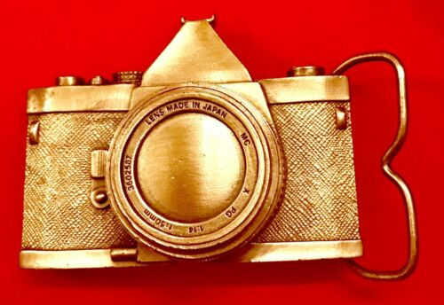Pewter Belt Buckle novelty 35MM Camera NEW