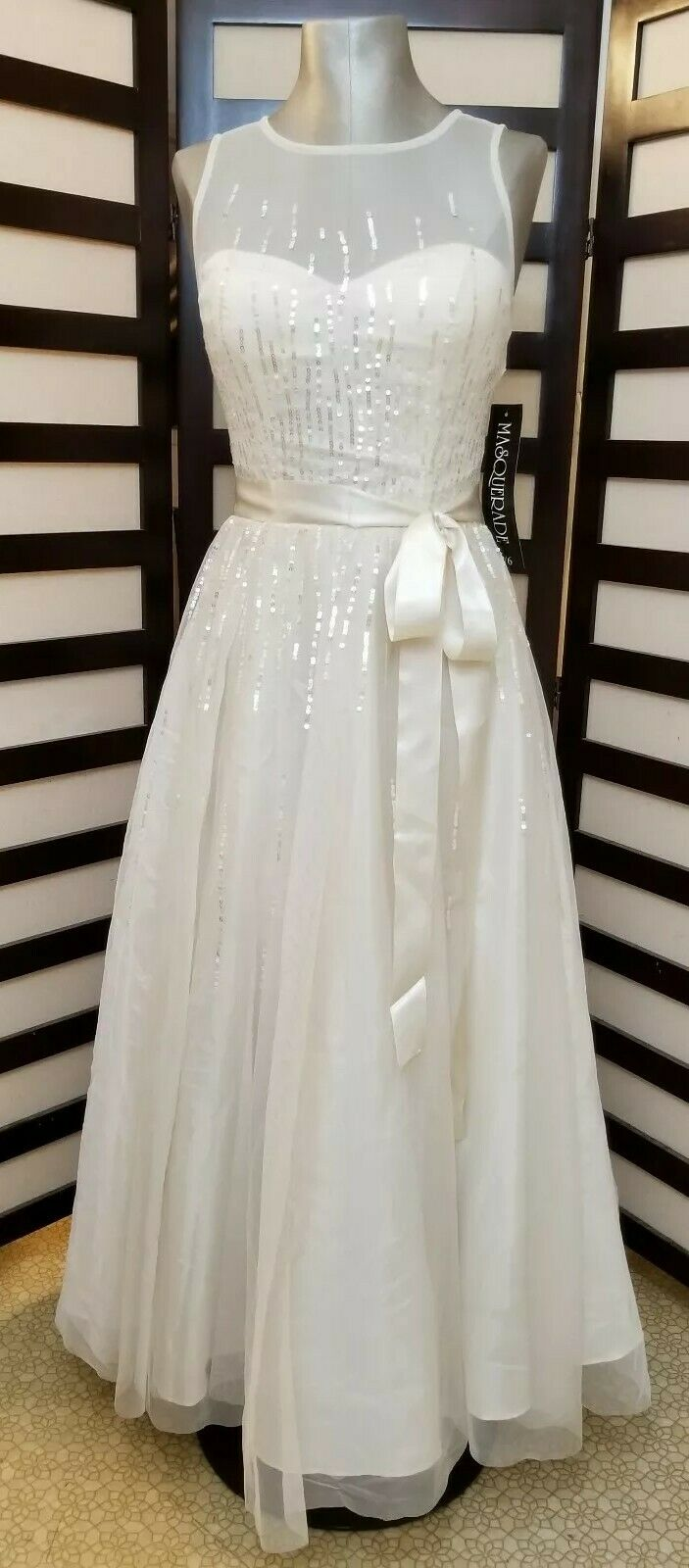 Masquerade Ivory Sequin Sleeveless Lace Dress Formal Gown Wedding Dress Prom 5 6