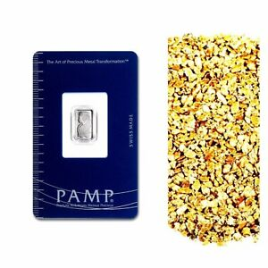 1-G-PAMP-SUISSE-9995-PLATINUM-LADY-FORTUNA-BAR-10-PIECE-ALASKAN-PURE-GOLD-NUGS