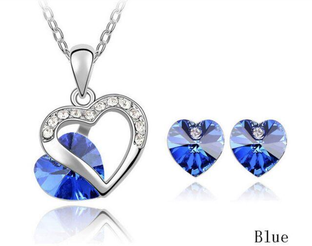 Austrian Crystal Heart Pendant Necklace Earrings Bridal Wedding Party Set